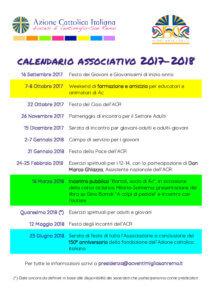 Calendario associativo 20172018