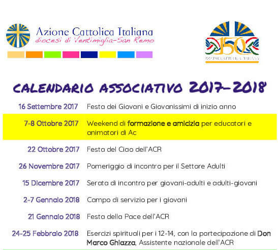 Calendario Cattolico.Calendario Associativo 2017 2018 Azione Cattolica